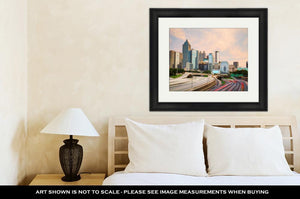Framed Print, Downtown Atlantgeorgiat Sunset Time