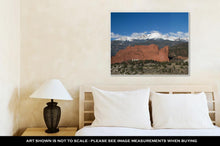Load image into Gallery viewer, Gallery Wrapped Canvas, Clouds Roll Over Pikes Peak In Colorado Springs With The Red Rock Formation Of