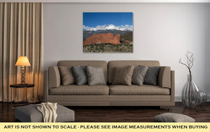 Gallery Wrapped Canvas, Clouds Roll Over Pikes Peak In Colorado Springs With The Red Rock Formation Of