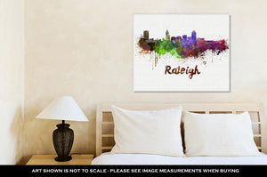 Gallery Wrapped Canvas, Raleigh Skyline In Watercolor