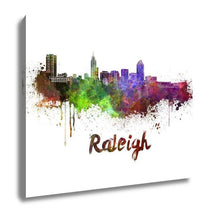 Load image into Gallery viewer, Gallery Wrapped Canvas, Raleigh Skyline In Watercolor