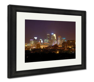 Framed Print, Minneapolis Skyline At Night