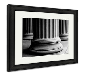 Framed Print, Closeup Of Classic Columns In Black And White
