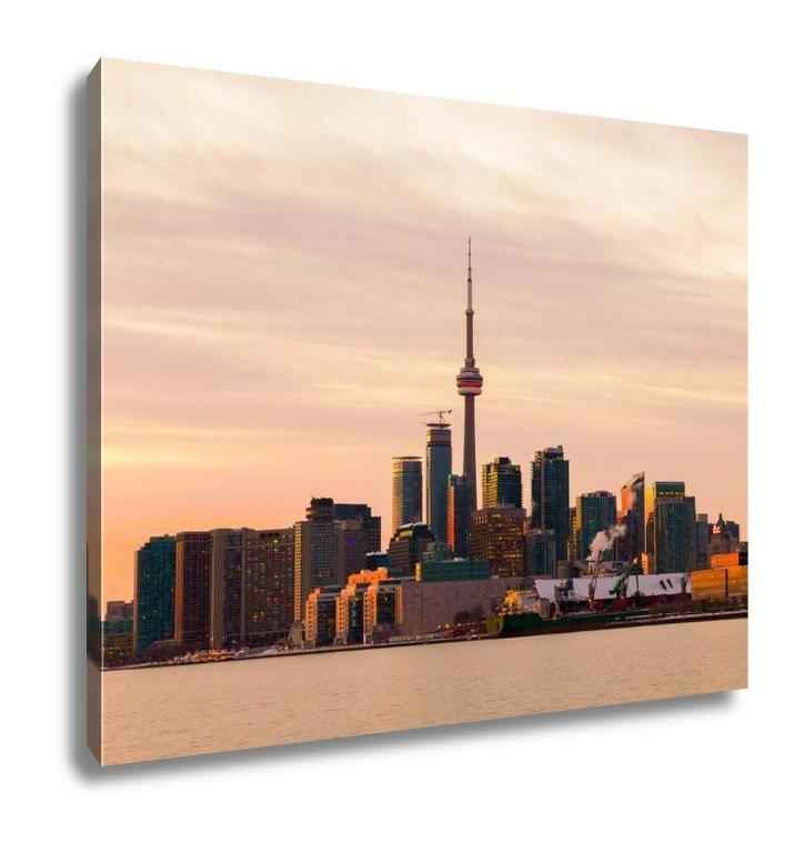 Gallery Wrapped Canvas, Cn Tower Part Of Toronto Skyline From East At Sunset