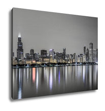Load image into Gallery viewer, Gallery Wrapped Canvas, View Of Chicago Skyline Over Lake Michigan At Night