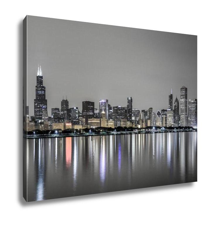 Gallery Wrapped Canvas, View Of Chicago Skyline Over Lake Michigan At Night