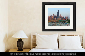 Framed Print, Busy Highway I94 Heading To Chicago Downtown
