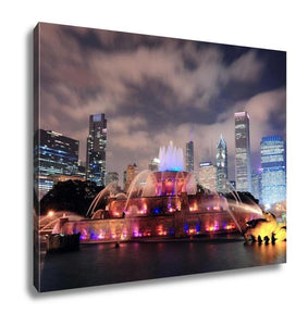 Gallery Wrapped Canvas, Chicago Skyline Skyscrapers Buckingham Fountain Grant Park Night