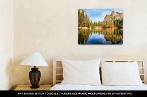 Metal Panel Print, Yosemite Lake With Waterfall On