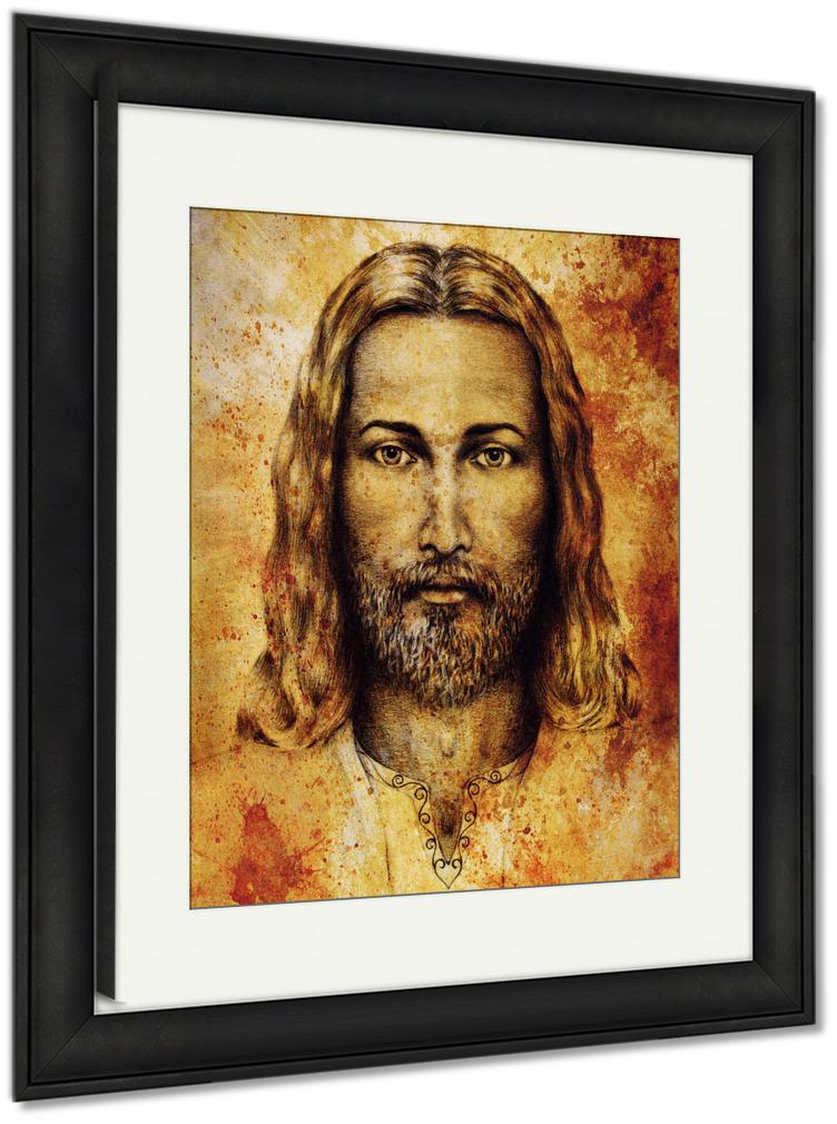 Framed Print, Pencils Drawing Jesus On Vintage Paper Ornament On Clothing Old