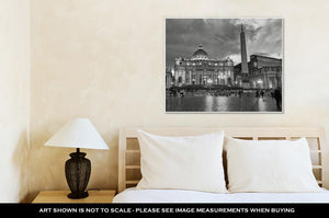 Gallery Wrapped Canvas, Colosseum Rome Vatican Place Saint Peter Cathedral Black White