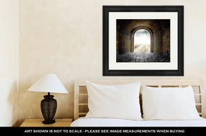 Framed Print, Cloud Gate Gate Opening To Endless Road Leading Nowhere