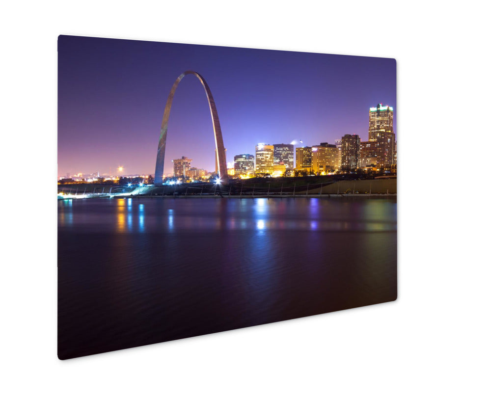 Metal Panel Print, St Louis Skyline In Evening With Arch In View