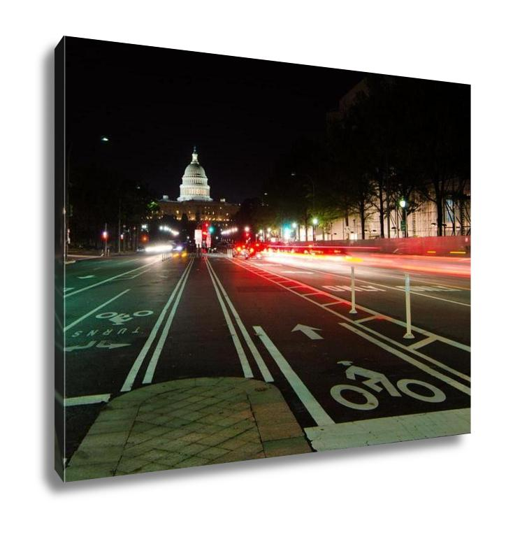 Gallery Wrapped Canvas, Washington Dc United States Capitol Building Night View From