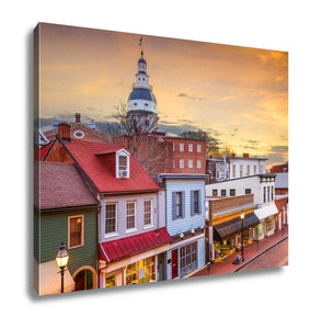 Gallery Wrapped Canvas, Capitol Building Annapolis Maryland Usdowntown View Over Main
