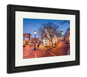 Framed Print, Capitol Building Annapolis Maryland Usdowntown Cityscape On Main