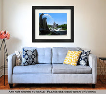 Load image into Gallery viewer, Framed Print, Salem Oregon Capitol Building And Water Fountain
