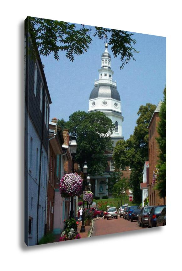 Gallery Wrapped Canvas, Capital Building In Annapolis Travel Architecture Vintage City Summer Old
