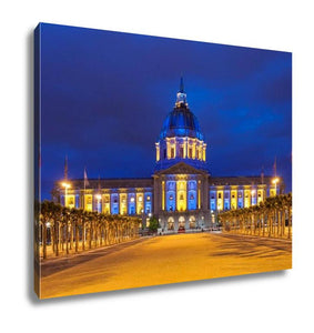 Gallery Wrapped Canvas, Capitol Building San Francisco City Hall In Blue And Gold