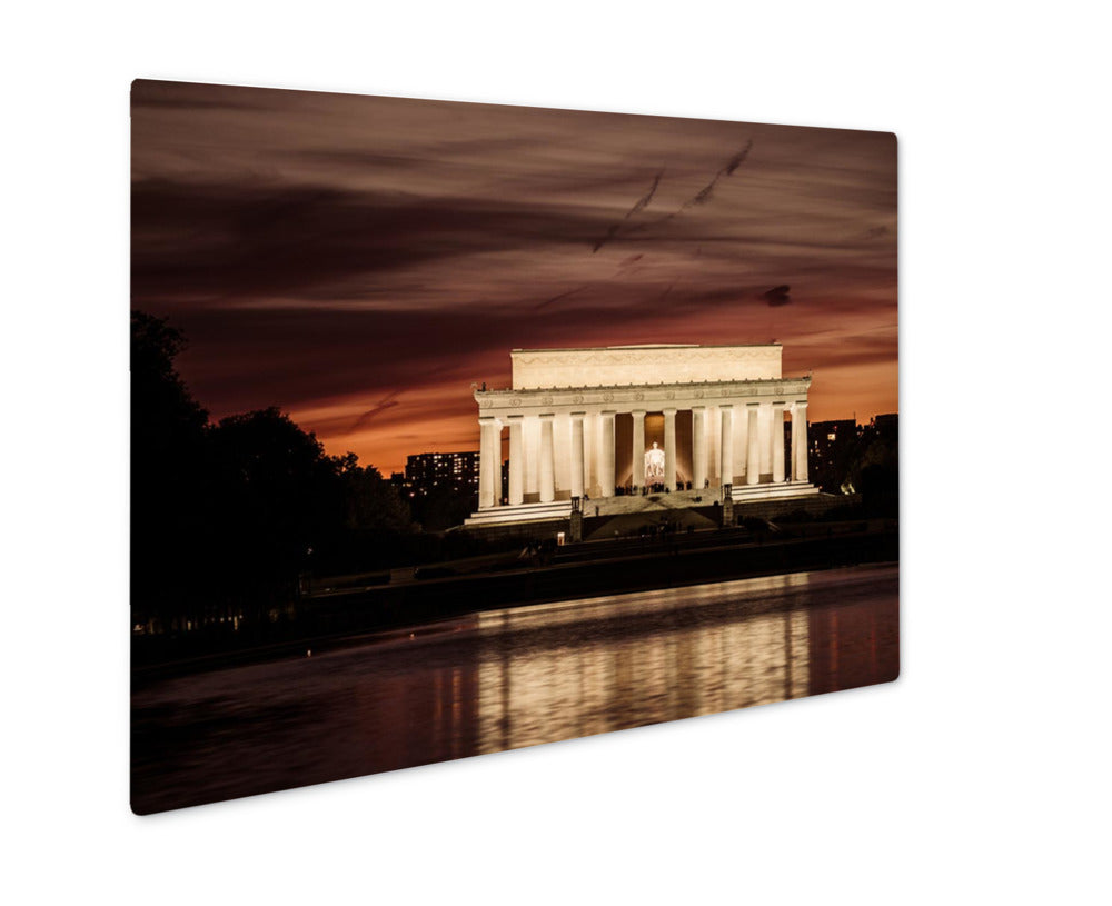 Metal Panel Print, Capitol Building Abraham Lincoln Memorial Night Washington Dc