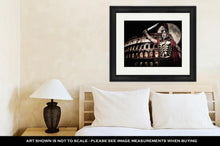 Load image into Gallery viewer, Framed Print, Colosseum Roman Legionary Soldier Front Coliseum Night Time