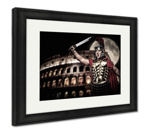 Framed Print, Colosseum Roman Legionary Soldier Front Coliseum Night Time