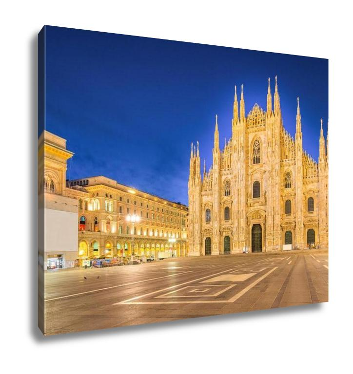 Gallery Wrapped Canvas, Night At The Duomo Of Milan Cathedral In Italy