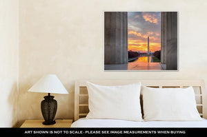 Gallery Wrapped Canvas, Brilliant Sunrise Over Reflecting Pool Dc