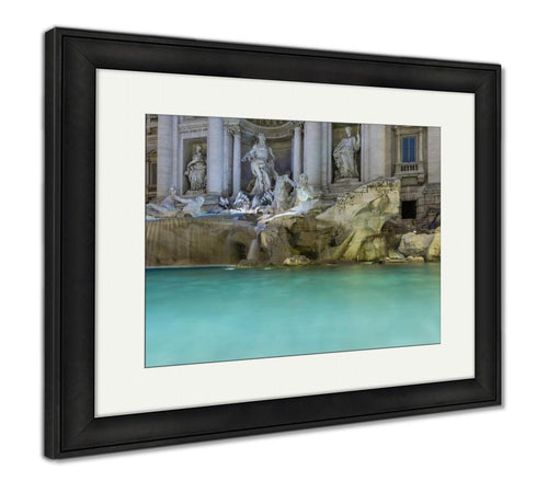 Framed Print, Close Up Of Beautiful Trevi Fountain At Night Rome Italy