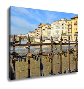 Gallery Wrapped Canvas, Padlocks On Ponte Vecchio Symbolizing Everlasting Love Florence