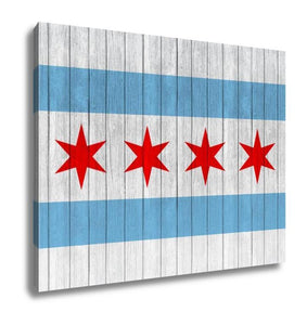 Gallery Wrapped Canvas, Chicago Flag On Wood