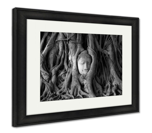 Framed Print, Old Faithful Ancient Head Sandstone Buddhin Tree Roots Form