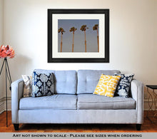 Load image into Gallery viewer, Framed Print, Palms Against Blue Sky In San Diego