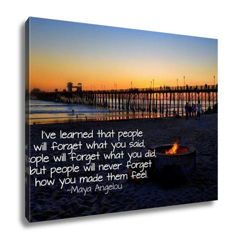 Gallery Wrapped Canvas, Oceanside Pier California With Quote