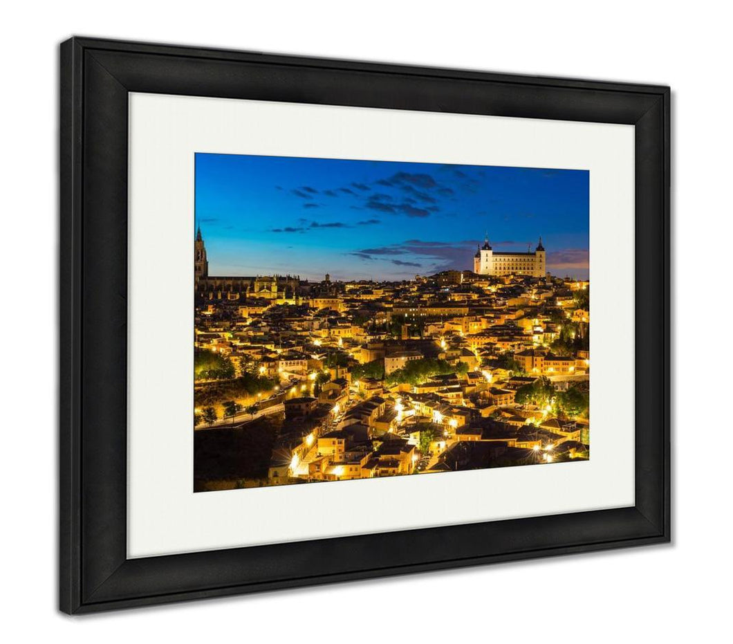 Framed Print, Toledo At Dusk In Spain