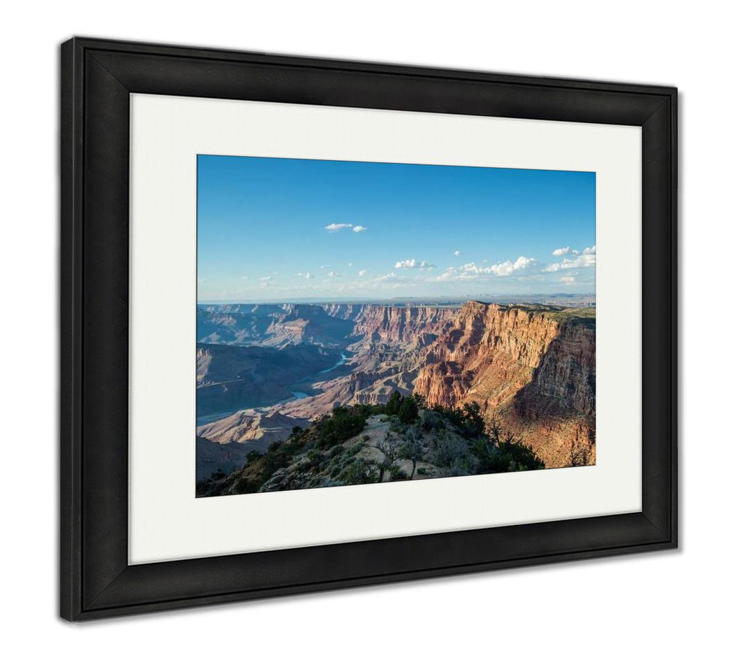 Framed Print, The Grand Canyon National Park South Rim At Desert Viewpoint During Sunset