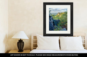 Framed Print, Beautiful Aerial Landscape Views From Crowders Mountain Near Gas