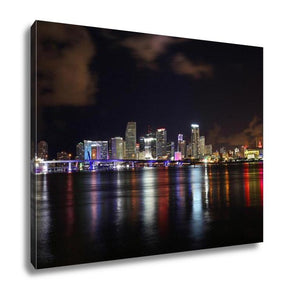 Gallery Wrapped Canvas, Downtown Of Miami Night Skyline Landscape City
