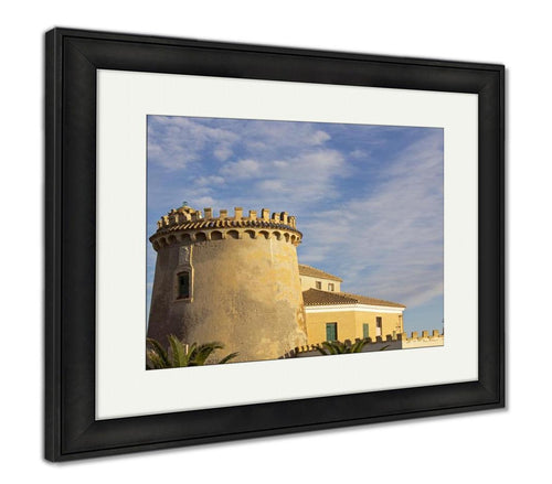 Framed Print, Home Castle At Sunset On A Sky With Clouds