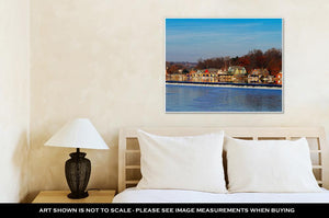 Gallery Wrapped Canvas, The Famed Philadelphias Boathouse Row In Fairmount Dam Fishway