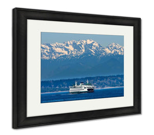Framed Print, Seattle Bainbridge Island Ferry Puget Sound Olympic Snow Mountai