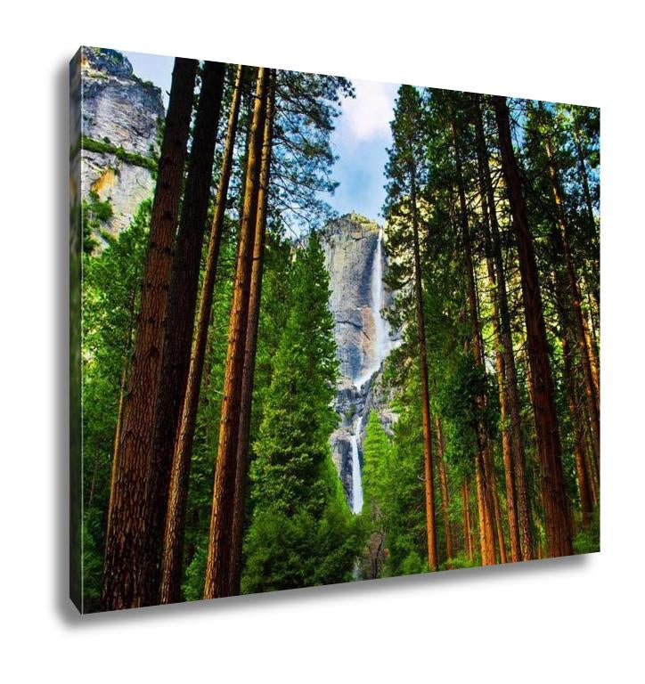 Gallery Wrapped Canvas, Yosemite Waterfalls Behind Sequoias In Yosemite National Parkcalifornia