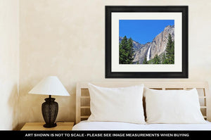 Framed Print, California View Of Yosemite Falls In Yosemite National Park