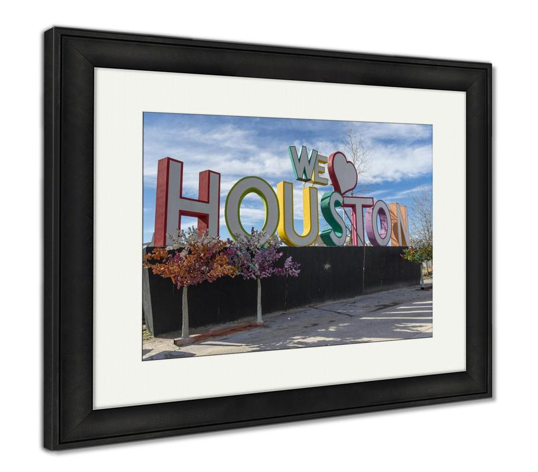 Framed Print, We Love Houston Composition Texas USA