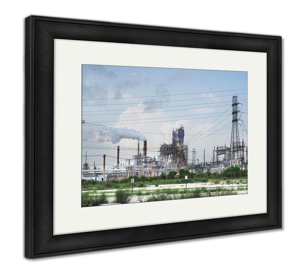 Framed Print, Oil Refinery