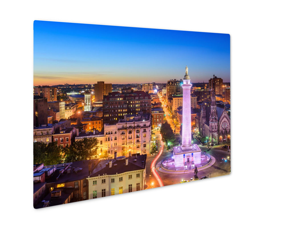 Metal Panel Print, Baltimore Maryland Uscityscape Mt Vernon Washington Monument
