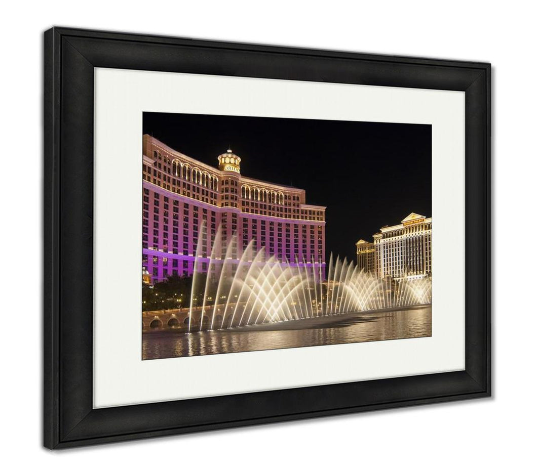 Framed Print, Water Show At Bellagio