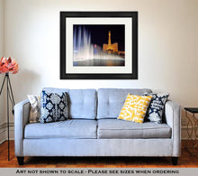Load image into Gallery viewer, Framed Print, Las Vegas March 26 View Dancing Bellagio Fountains In Front Of The Paris Hotel