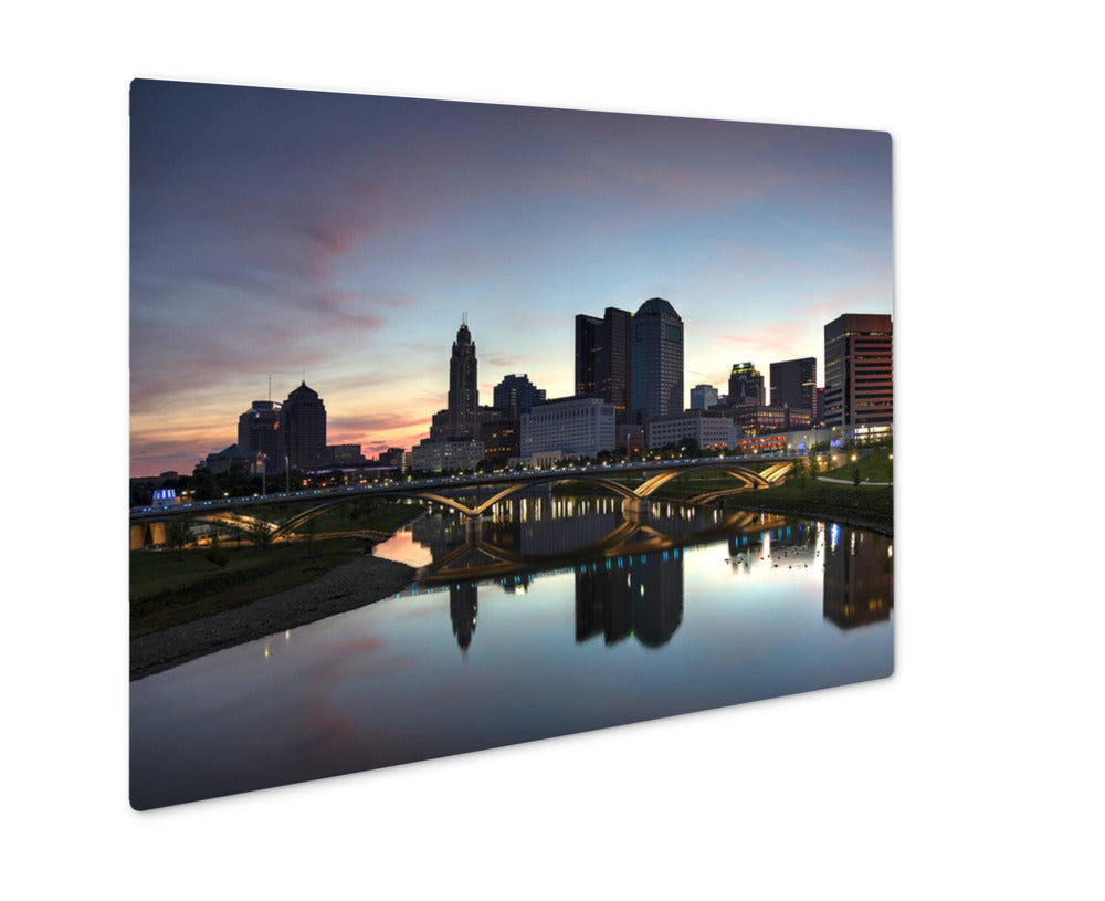 Metal Panel Print, Scioto River And Downtown Columbus Ohio Skyline At Dawn