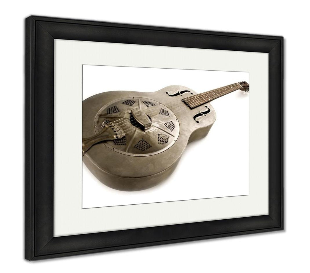 Framed Print, Dobro Guitar Isolated